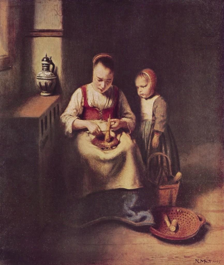 마에당근껍질을까는여인과곁에선아이